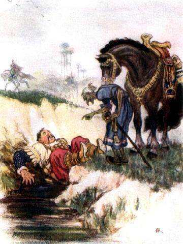всадник упал с коня в лужу
