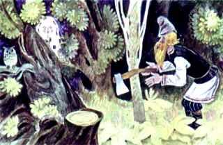старик рубит дерево