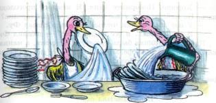 страусята хозяйничают на кухне моют посуду