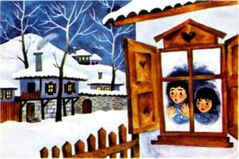 дети выгладывают в окно снежная зима за окном