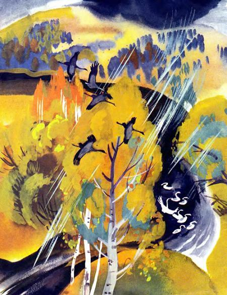 птицы над осенним лесом