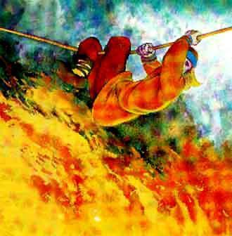 Индига лезет по веревке сквоз огонь