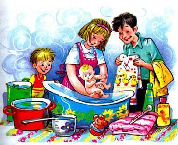 мальчик Дениска и родители купают малышку Ксению