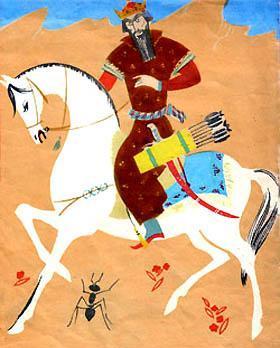шах Сулейман едет верхом со своей свитой на охоту
