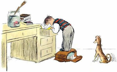 Пришёл из школы ученик И спрятал в ящик свой дневник.