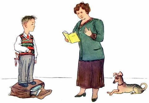 ученик показывает свой дневник матери