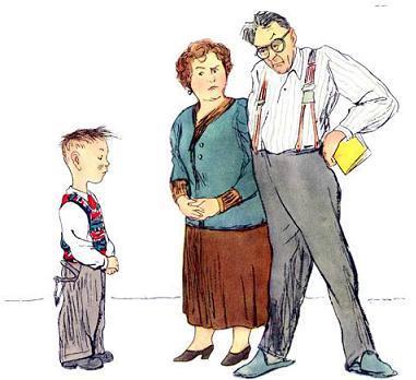 отец и мать отчитывают ученика