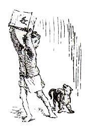 мальчик замахивается на собачку