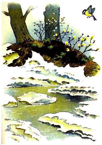 Синичка над рекой растаявшей