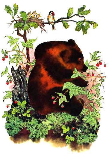 Синичка и медведь врет малину