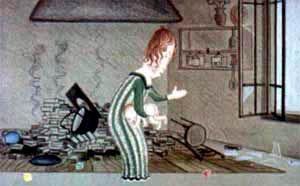 синьора Сосиска очень рассердилась и крепко отшлепала маленького Биллюццино