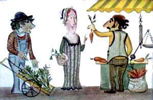 Синьора Сосиска торговалась с продавцом петрушки