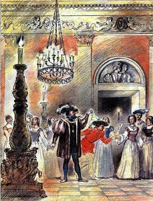 Синяя Борода в зале дворца