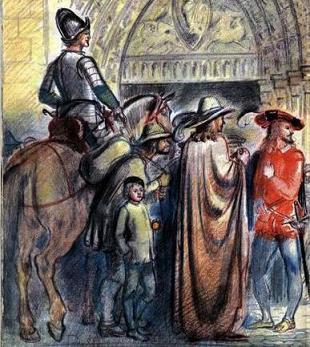средневековый рыцарь на коне в толпе