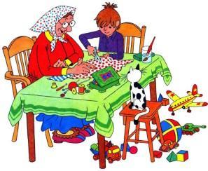 максим и бабушка делают куклу