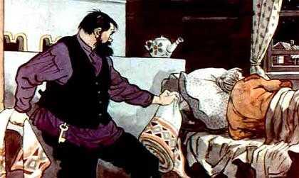 вытащил мужик чудесную скатерть, а на ее место свою подложил — простую