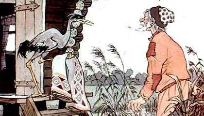 старик получает от журавля скатерть самобранку