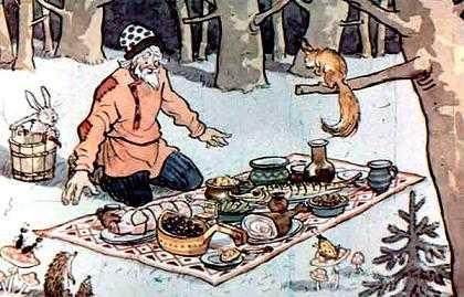 на скатерти все появилось: и жареное и пареное, ешь — не хочу