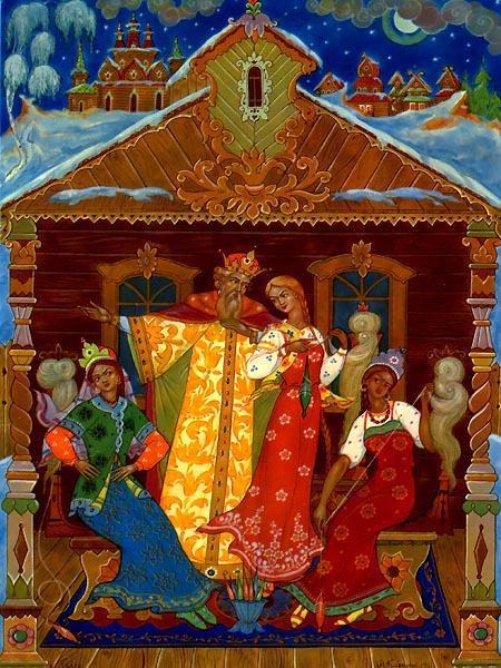три девицы под окном и царь