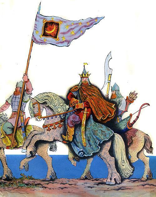 Царь Салтан, с женой простяся, На добра-коня садяся