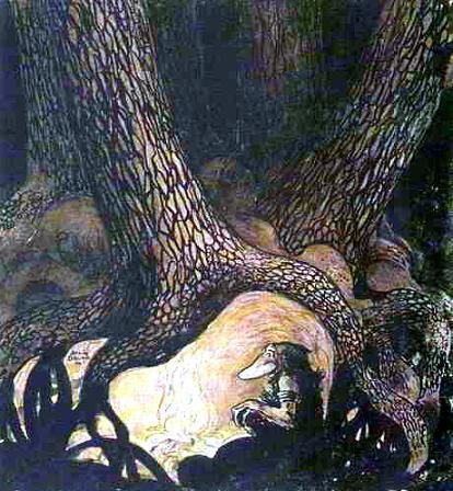 Клампе-Лампе вырыл себе большую землянку под семью высокими соснами