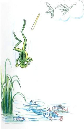 лягушка падает в воду гуси улетают