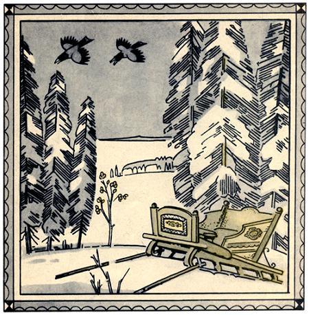 сани в зимнем лесу