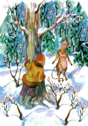мужик в заснеженном лесу следит за чертом