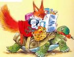 белка возвращается с покупками на черепахе