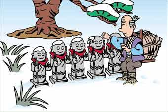 старик пошел Проходя мимо статуй Джидзо-сама, он увидел, что их снова запорошило снегом.