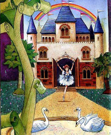 Танцовщица, на одной ножке перед своим игрушечным замком