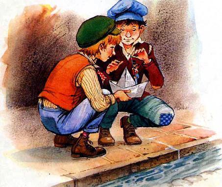 двое мальчишек смастерили из газеты лодочку, посадили в нее Солдатика и пустили плыть в сточную канаву