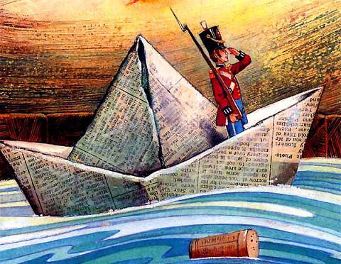 Стойкий оловянный солдатик плывет на бумажном кораблике