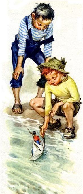 мальчишки запускают оловянного солдатика на корабле
