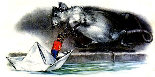 из-под моста выскочила большая водяная крыса