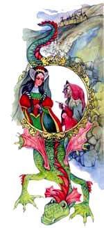 королева попросила свою служанку - злую колдунью, чтобы та уничтожила красоту принцессы.