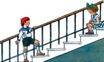 мальчик Петя считает ступеньки в подъезде