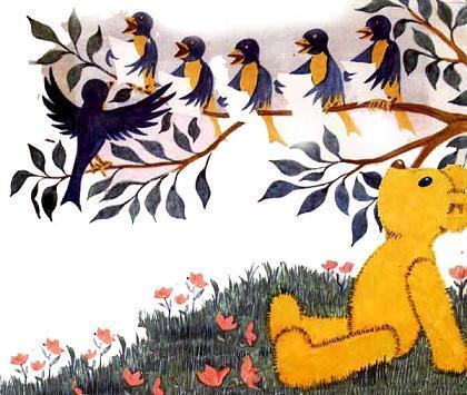 медвежонок Тедди Брюмм слушает пение птиц