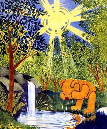 медвежонок Тедди Брюмм умывается из ручья