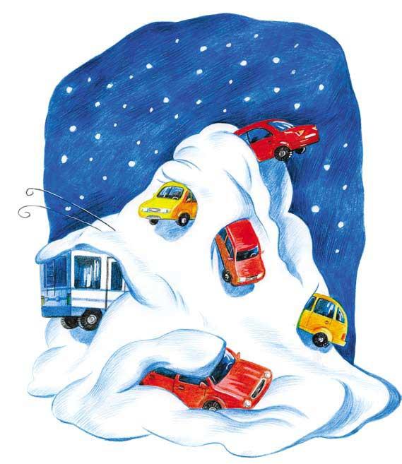 снегопад блокировал городской транспорт
