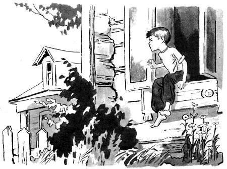 мальчик сидит в окне