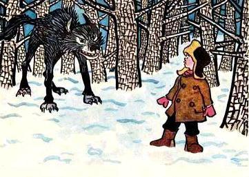 мальчик и волк в лесу