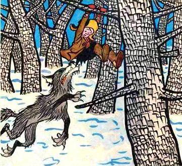 мальчик на дереве волк схватил за штаны