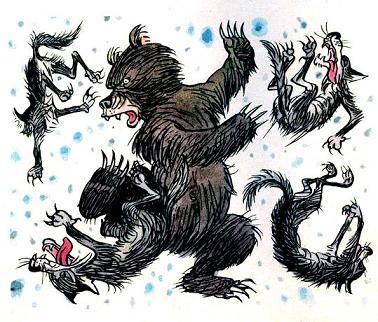 медведь борется со стаей волков