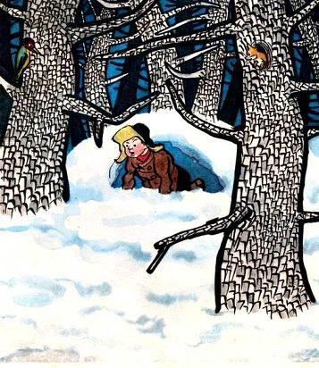 мальчик в заснеженном лесу