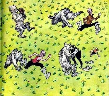 охотник убегает от медведя