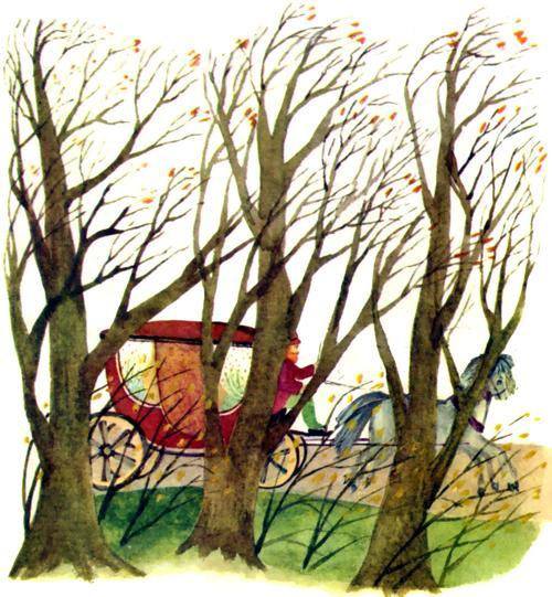 карета едет через лес
