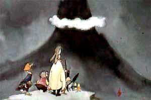 пришли они на макушку высокой горы. А там облако за вершину уцепилось