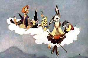 Залезли на облако цыплята, сорока, заяц, утка и еж,