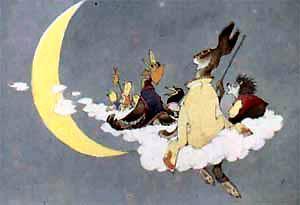 на облаке цыплята, сорока, заяц, утка и еж подлетели к месяцу
